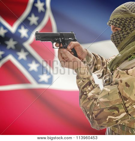 Male In With Gun In Hand And Flag On Background - Mississippi