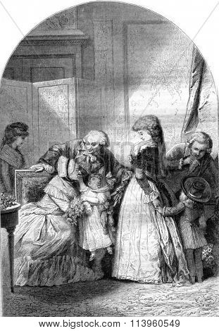 The Feast of grandma, vintage engraved illustration. Magasin Pittoresque 1870.