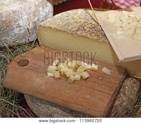 Pieces Of Seasoned Cheese In Local Market