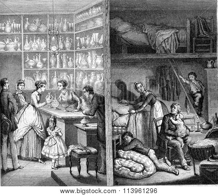 Shop and back shop in Paris, vintage engraved illustration. Magasin Pittoresque 1870.