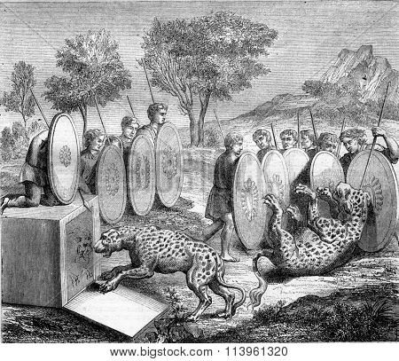 Hunting panther, after an ancient painting of the tombs of unicorn fish in Rome, vintage engraved illustration. Magasin Pittoresque 1870.