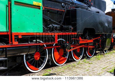 detail of steam locomotive in railway museum, Koscierzyna, Pomerania, Poland