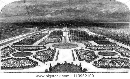 Enlarged perspective of the plan above, vintage engraved illustration. Magasin Pittoresque 1869.