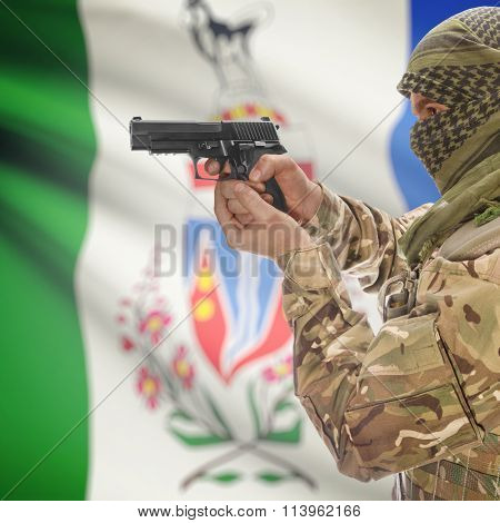 Male In With Gun In Hand And Canadian Province Flag On Background - Yukon