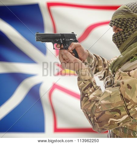 Male In With Gun In Hand And Canadian Province Flag On Background - Newfoundland And
