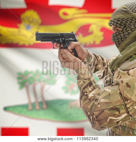 Male In With Gun In Hand And Canadian Province Flag On Background - Prince Edward Is