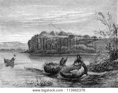 Mandan village and boats, vintage engraved illustration. Magasin Pittoresque 1870.