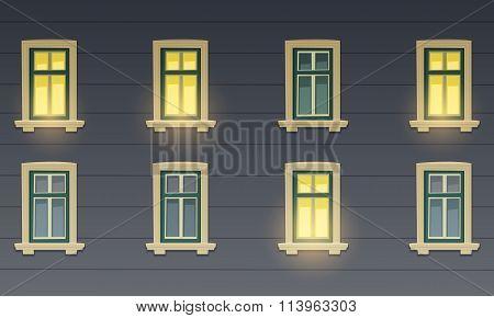 Retro Building Facade At Night