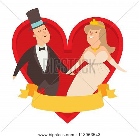 Wedding couples cartoon style vector illustration