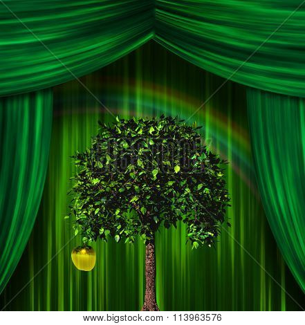 Tree and apple before curtains