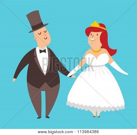 Wedding couples cartoon style vector illustration