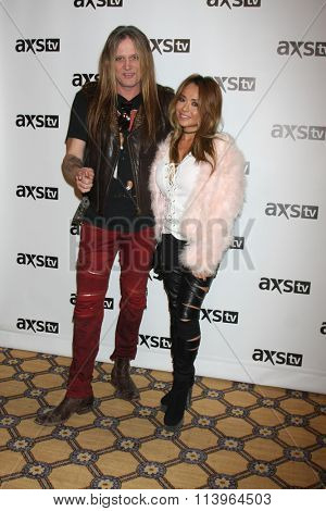 LOS ANGELES - JAN 8:  Sebastian Bach, wife at the AXS TV Winter 2016 TCA Cocktail Party at the The Langham Huntington Hotel on January 8, 2016 in Pasadena, CA