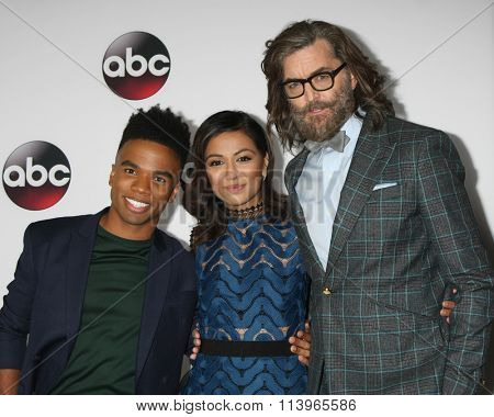 LOS ANGELES - JAN 9:  Luke Youngblood, Karen David, Timothy Omundson at the Disney ABC TV 2016 TCA Party at the The Langham Huntington Hotel on January 9, 2016 in Pasadena, CA