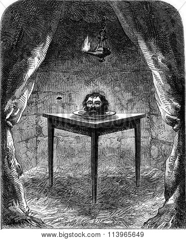 The head of the beheaded, vintage engraved illustration. Magasin Pittoresque 1869.