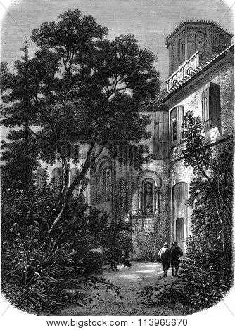 The abbey Verteuil, in the district of Lesparre, Gironde, vintage engraved illustration. Magasin Pittoresque 1869.