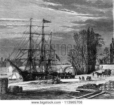 The Paris Sea port at Saint-Nicolas Port, Paris, vintage engraved illustration. Magasin Pittoresque 1869.