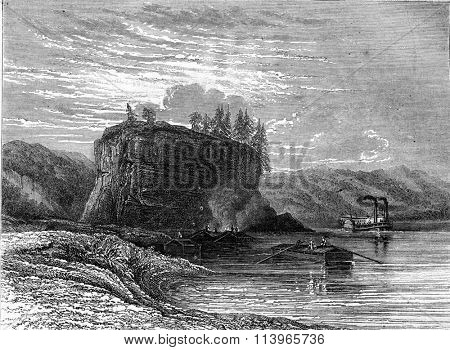 The Grand Tower or Tower Rock on the banks of the Mississippi, vintage engraved illustration. Magasin Pittoresque 1869.