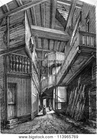 Staircase of the sixteenth century, Notre-Dame Street, Vitre, Ille-et-Vilaine, vintage engraved illustration. Magasin Pittoresque 1869.