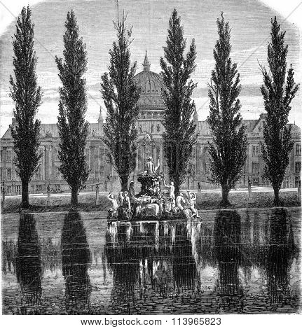 The Potsdam Royal Castle, vintage engraved illustration. Magasin Pittoresque 1869.