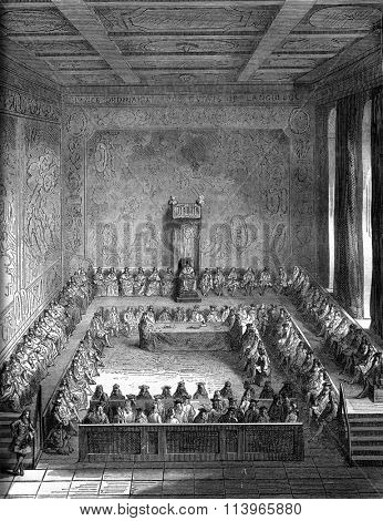 Regular meeting of the States of Languedoc, 1704, vintage engraved illustration. Magasin Pittoresque 1869.