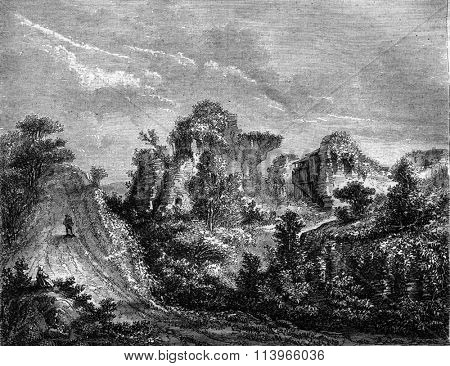 Ruins of the castle of Longueville, Seine-Bottom, vintage engraved illustration. Magasin Pittoresque 1869.