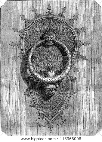 Hammer portal of the cathedral of Tarragona, vintage engraved illustration. Magasin Pittoresque 1869.