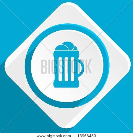 beer blue flat design modern icon for web and mobile app