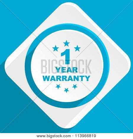 warranty guarantee 1 year blue flat design modern icon for web and mobile app