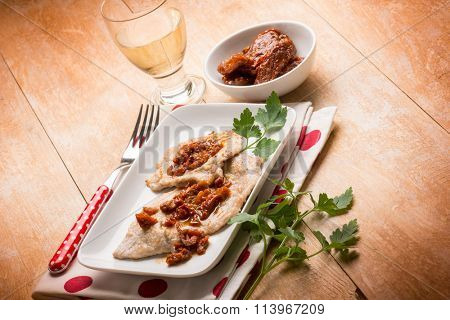 escalope with white wine and dried tomato