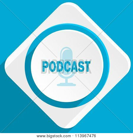 podcast blue flat design modern icon for web and mobile app