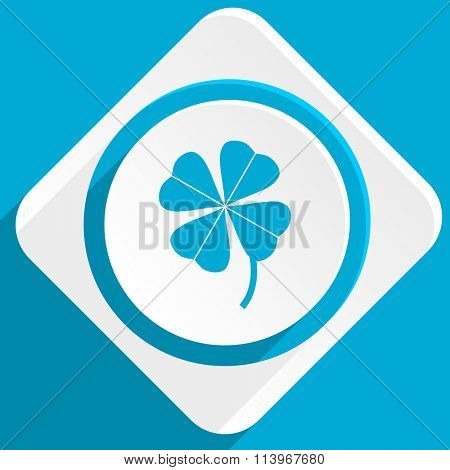 four-leaf clover blue flat design modern icon for web and mobile app