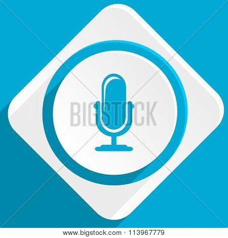 microphone blue flat design modern icon for web and mobile app