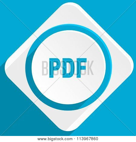 pdf blue flat design modern icon for web and mobile app