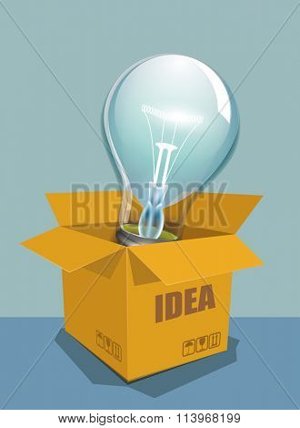 Light bulb idea concept  outside the box, vector.
