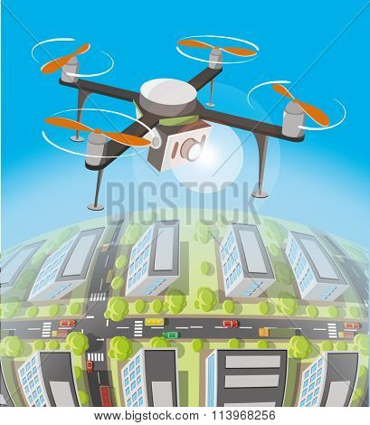 Concept for drone shooting. Drone with the camera over earth.
