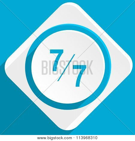 7 per 7 blue flat design modern icon for web and mobile app