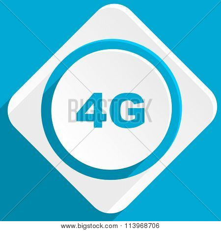 4g blue flat design modern icon for web and mobile app