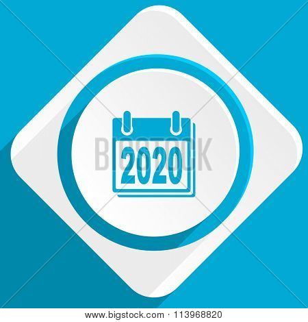 new year 2020 blue flat design modern icon for web and mobile app