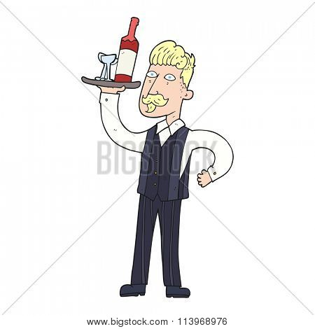 freehand drawn cartoon waiter