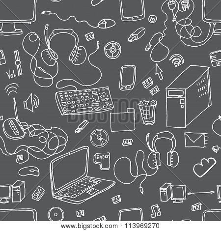 A vector seamless pattern of hand drawn doodles of electronic gadgets.