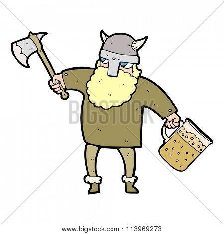 freehand drawn cartoon drunk viking