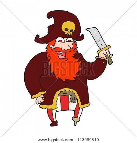 freehand drawn cartoon pirate captain
