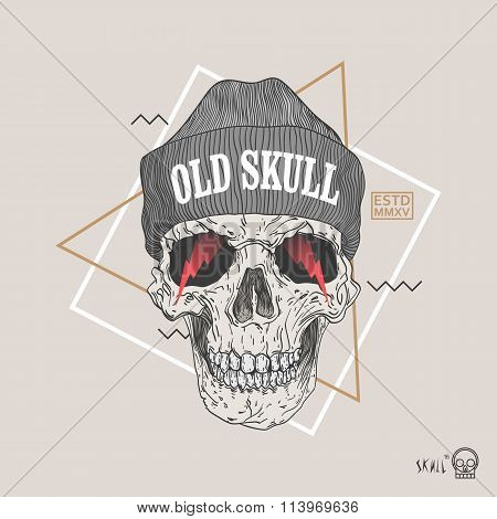 Thin Line Skull Label