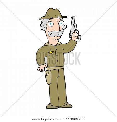 freehand drawn cartoon sheriff