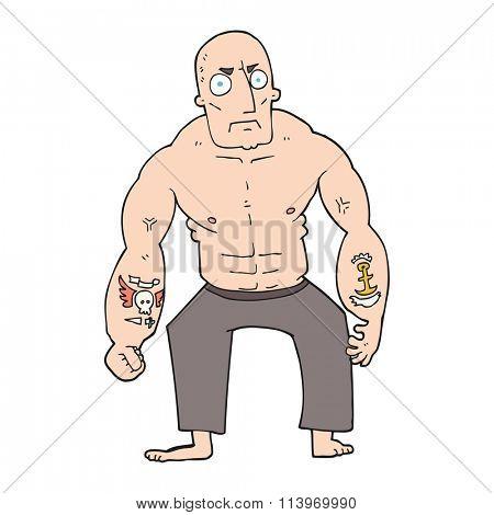 freehand drawn cartoon tough man