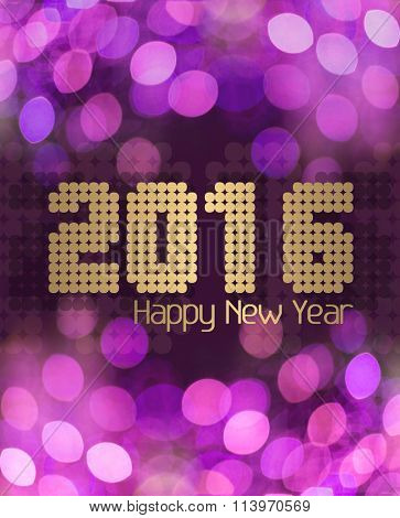Happy New Year 2016 on glittery pink background