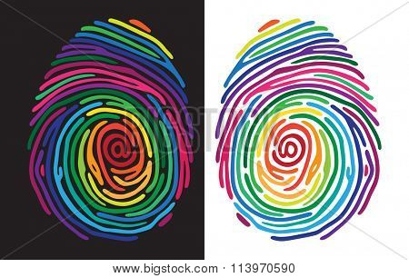 Abstract color finger print on black and white background. Vector illustration