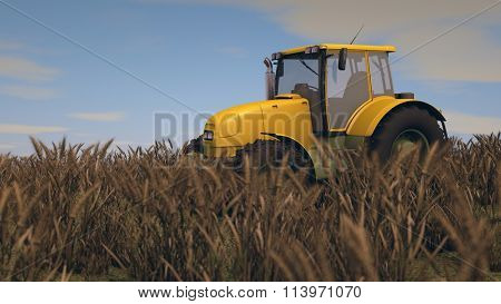 general yellow tractor in wheat field
