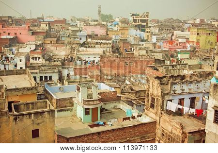 Cityscape Of Historical Indian City With Brick Buildings In Bad Condition