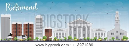 Richmond (Virginia) Skyline with Gray Buildings and Blue Sky. Vector Illustration. Business Travel and Tourism Concept with Modern Buildings.Image for Presentation, Banner, Placard and Web Site.